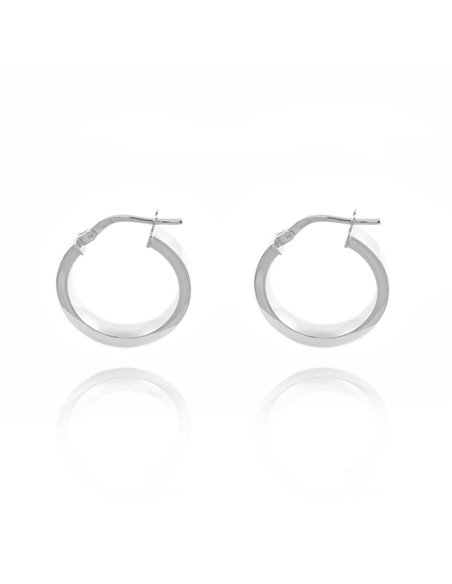 Pendientes Plata Aros rectangulares Lisos 21x4 mm
